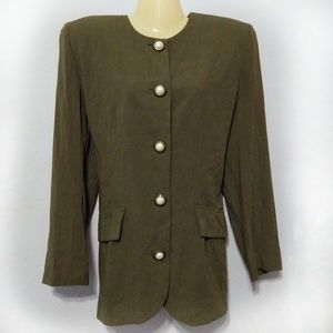 Vintage 80s olive green button down tunic
